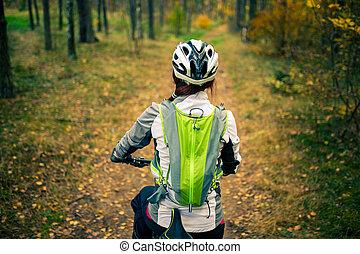 形象, 从, 往回, 在中, 妇女, 在中, 钢盔, 在上, 自行车