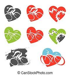 形。, アイコン, 心, サイクリング