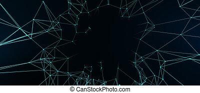 形, イラスト, バックグラウンド。, -, 技術, 3d, 未来派, 抽象的, 青, polygonal, デザイン, デジタル, concept., 暗い