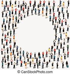 形, グループ, 円, 人々