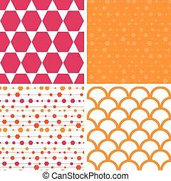 形, セット, カラフルである, 抽象的, ストライプ, 4, パターン, ベクトル, 繰り返すこと, 行進