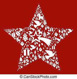 形, セット, 星, クリスマス, アイコン