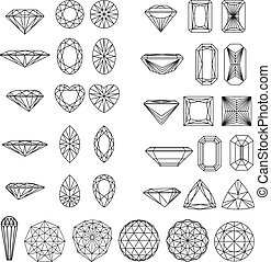 形, ダイヤモンド, セット, wireframe