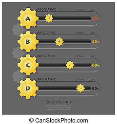 形, デザイン, ギヤ, テンプレート, infographics