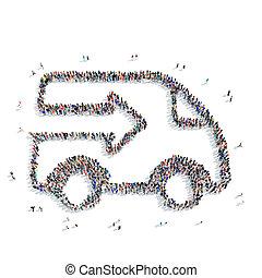 形, トラック輸送, 人々