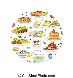 形, パターン, ヨーロッパ, おいしい, 伝統的である, デザート, 皿, イラスト, 料理, ベクトル, 食事, ラウンド
