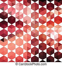 形, パターン, 幾何学的, 六角形, レトロ
