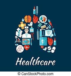 形, ヘルスケア, 人間, 肺, アイコン