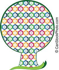 形, ロゴ, 六角形, 木