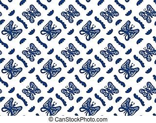 形, 壁紙, hand-drawn, 優雅である, 青, ∥など∥., 白, 生地, パターン, 装飾, 織物, バックグラウンド。, seamless, 蝶, 抽象的, vector., ペーパー, パターン, 中, 包むこと, 波状