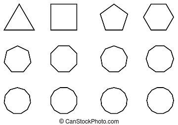 形, 幾何学的, セット, ベクトル