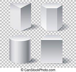 形, 幾何学的, 白, 3d
