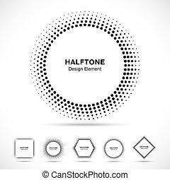 形, 抽象的, セット, 黒, halftone