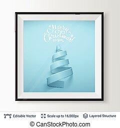 形, 木, frame., リボン, クリスマス
