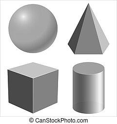 形, 現実的, 幾何学的