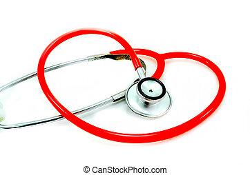 形, 白, 聴診器, 隔離された, 心