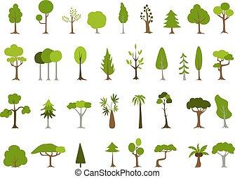 形, 緑, 別, 木, set.