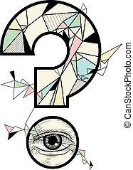 形, 質問, 幾何学的, 目, 印