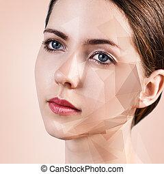 形, 顔, 女, 若い, 幾何学的