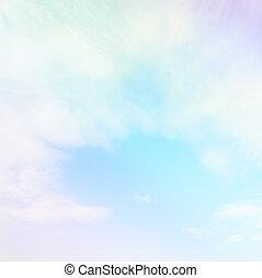 彩色蜡筆, 坡度, 天空, 顏色, 軟, 雲