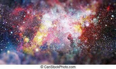 彩色, 云, 在中, nebula., 元素, 在中, 这, 形象, 供给, 在以前, nasa.
