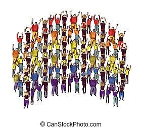 彩虹符号, 骄傲, 大, 团体, 开心, 人们