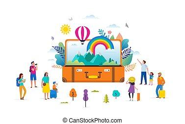 彩虹, 套間, 人們, 現代, 場景, 插圖, 旅行, 微型畫, 矢量, 冒險, 小提箱, 離開, 打開, style., 旅遊業