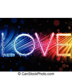 彩虹, 愛, 鮮艷, 摘要, -, 情人節, 矢量, 背景, 波浪, 詞, 天