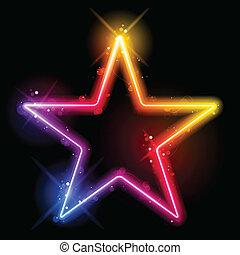 彩虹, 打旋, 邊框, 星, 閃耀