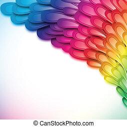 彩虹, 插圖, 矢量, retro, 背景, 植物, 卡片, design.