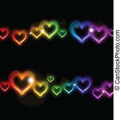 彩虹, 框架, 矢量, sparkles., 心