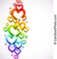 彩虹, 閃耀, 矢量, white., 心