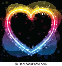 彩虹, 閃耀, 邊框, swirls., 心