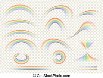 彩虹, 集合, 被隔离, 上, 透明, 背景。, 現實, 雨, 拱