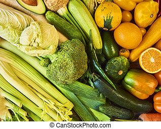 彩虹, 鮮艷, 蔬菜, 彙整, 背景。, 水果