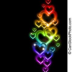 彩虹, sparkles., 矢量, 邊框, 心