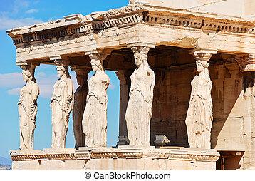 彫像, アテネ, karyatides, ポーチ