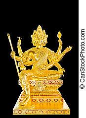 彫像, 金, 仏教, 神, バックグラウンド。, 黒