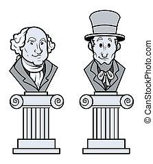 彫刻, の, リンカーン, そして, ワシントン