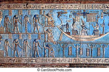 彫刻, 古代, hieroglyphic, 寺院, エジプト人