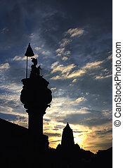 彫刻, 日没, durbar, 古代, 下に, ネパール, 広場, 美しい
