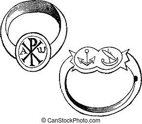 彫版, キリスト教徒, 型, リング, 2, シンボル, 主教