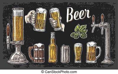 彫版, クラス, 背景, ポスター, 招待, 型, 缶, ビール, 2, イラスト, 隔離された, 暗い, 大袈裟な表情をしなさい, ベクトル, 網, 手を持つ, bottle., パーティー。, 蛇口, ガラス