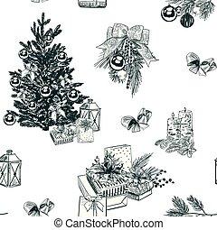 彫版, スケッチ, セット, ベクトル, 背景, クリスマス