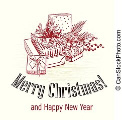 彫版, スタイル, 木, スケッチ, プレゼント, victorian, 引かれる, クリスマスカード