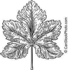 彫版, スタイル, 葉, 木版, 要素, デザイン, ブドウ