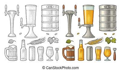 彫版, セット, ビール, 木, ガラス, ホツプ, bottle., 大袈裟な表情をしなさい, 蛇口