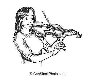 彫版, バイオリン, 女の子, ベクトル, イラスト