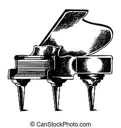彫版, ピアノ, ベクトル, イラスト, 壮大