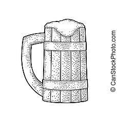 彫版, ベクトル, illustration., 型, ビール, 木, 黒, mug.